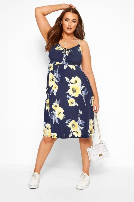 Floral Dresses Grande Taille Navy & Yellow Floral Bow Skater Dress