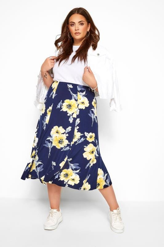 Plus Size Midi Skirts Navy & Yellow Floral Midi Skirt