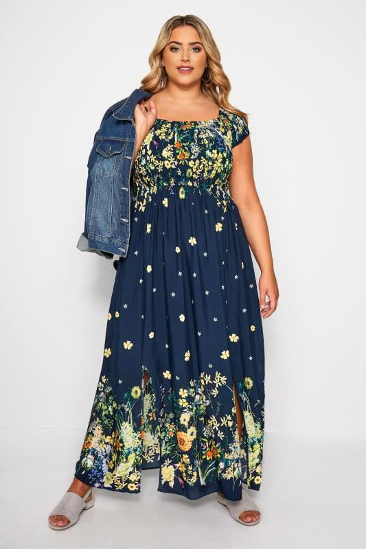 Navy & Yellow Floral Print Maxi Dress