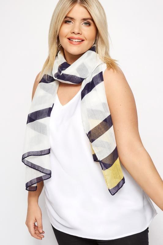 Bufandas y pañuelos Tallas Grandes Pañuelo blanco y amarillo con rayas azules