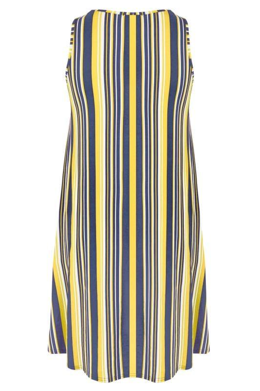 Navy & Yellow Striped Drape Pocket Dress