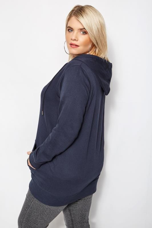Plus Size Hoodies & Jackets Navy Zip Through Hoodie