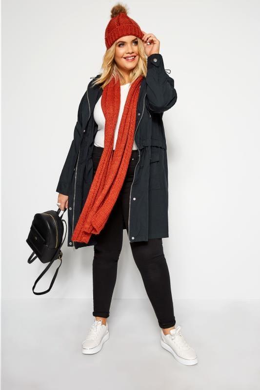 Donkerblauwe lange katoenen jas