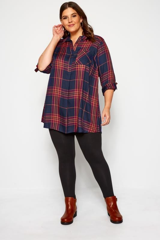 Navy and Orange Overhead Check Shirt