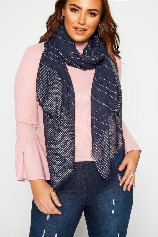 Plus Size Scarves Navy & Silver Metallic Scarf