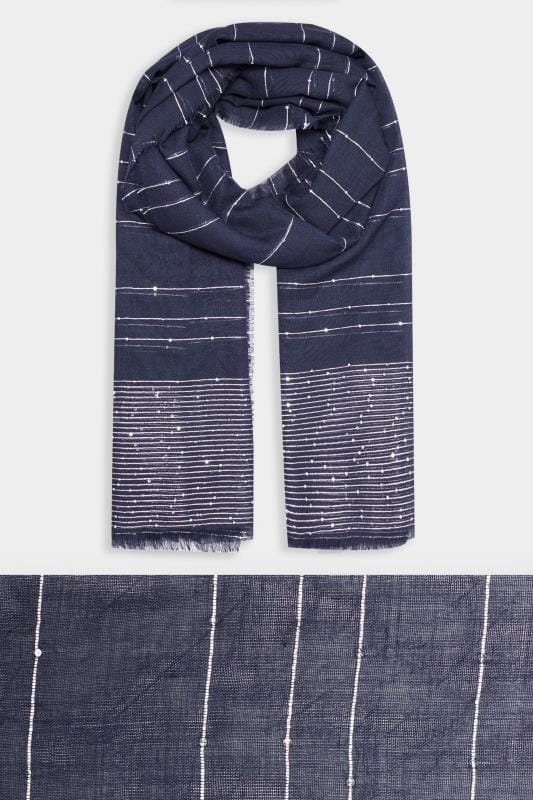 Yours Navy & Silver Metallic Scarf