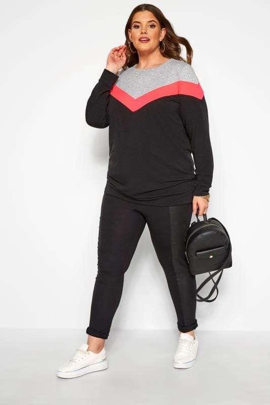 Plus Size Sweatshirts Black & Neon Pink Colour Block Chevron Sweatshirt