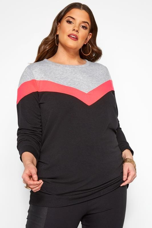 Plus Size Sweatshirts Black & Neon Pink Colour Block Chevron Sweatshirt