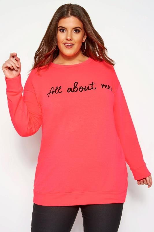 Bluzy dla puszystych Bluza z napisem, neonowy róż