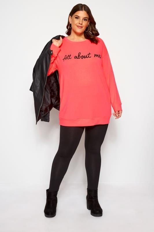 """Große Größen Sweatshirts Sweatshirt mit """"All About Me"""" Schriftzug - Neon-Pink"""