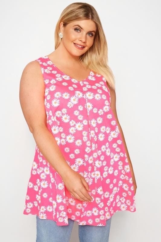 Plus Size Vests & Camis Neon Pink Daisy Print Swing Top