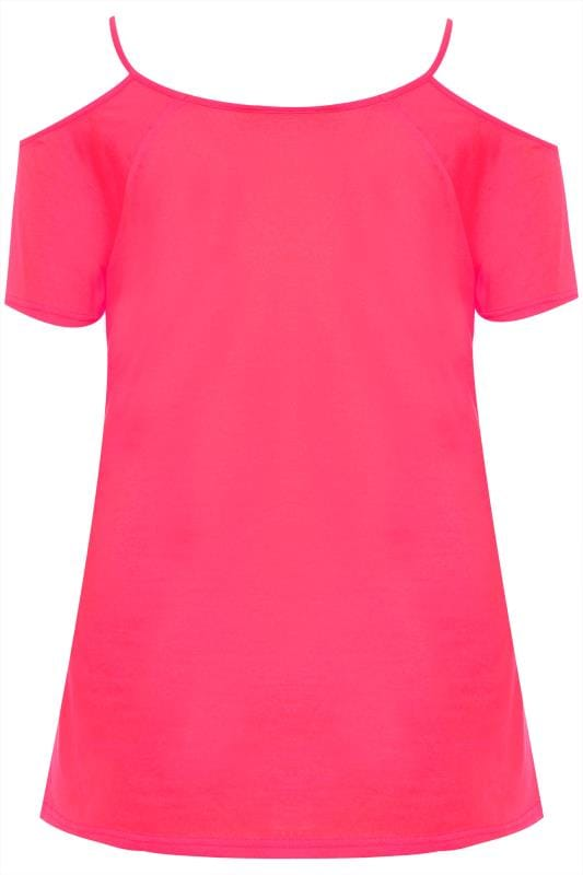 Neon Pink Strappy Cold Shoulder Top