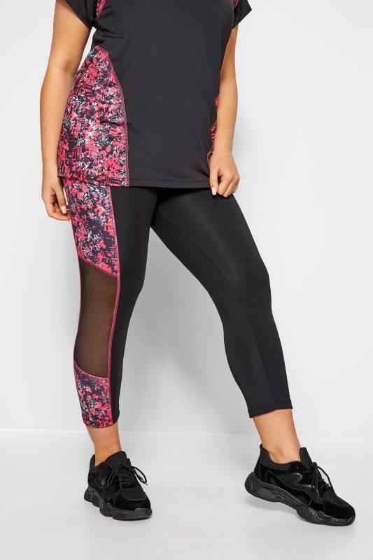 Plus-Größen Active Leggings ACTIVE Black Abstract Print Mesh Panelled Leggings