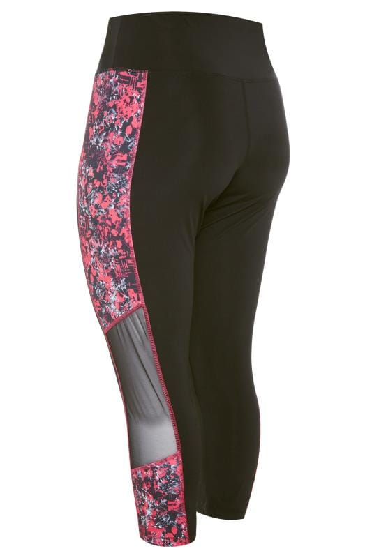 ACTIVE Black Abstract Print Mesh Panelled Leggings