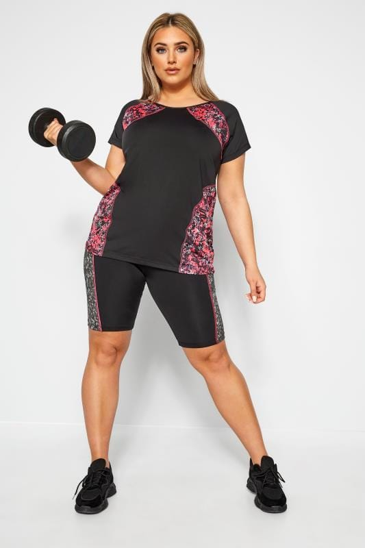 Plus Size Active Tops ACTIVE Black Abstract Print Panel Top