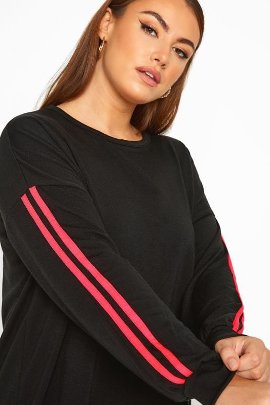 LIMITED COLLECTION Black Neon Pink Side Stripe Sweatshirt