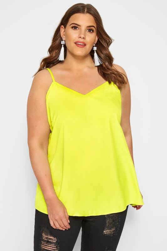 Plus Size Vests & Camis Neon Yellow Lattice Back Cami Top