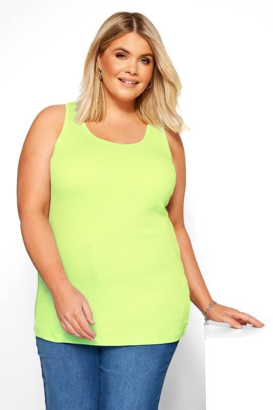 Plus Size Jersey Tops Neon Yellow Vest Top