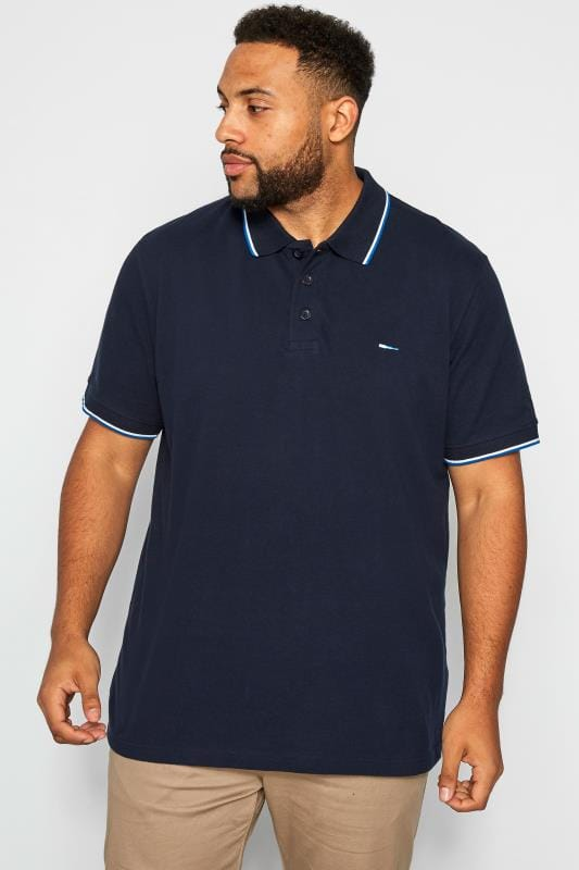 Polo Shirts BadRhino Navy Tipped Polo Shirt 201187