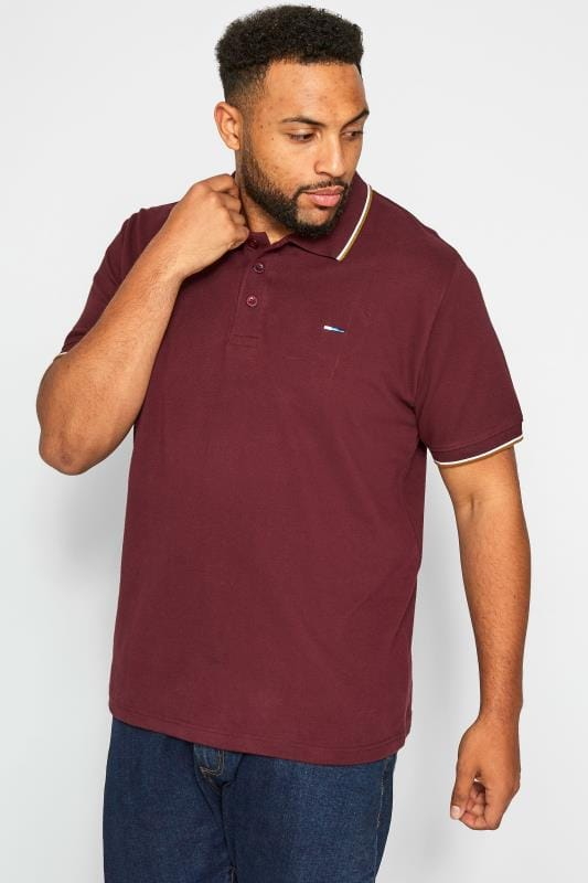 Polo Shirts BadRhino Burgundy Tipped Polo Shirt 201188