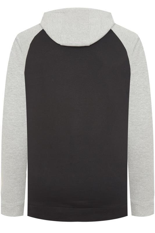 BadRhino Black & Grey Printed Raglan Hoodie
