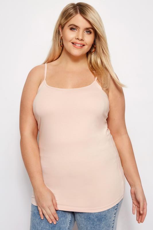 Plus Size Basic T-Shirts & Vests Nude Cami Vest Top