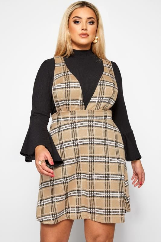 Plus Size Pinafore Dresses LIMITED COLLECTION Nude Check Pinafore Dress