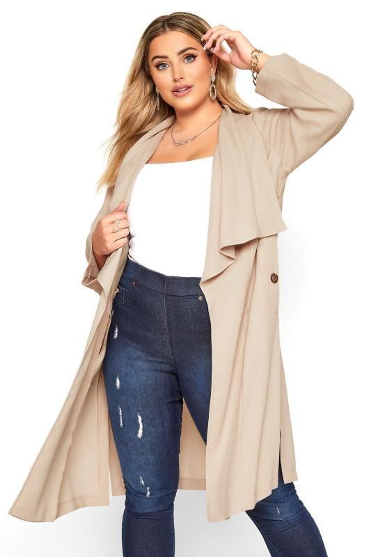 Plus Size Jackets Nude Crepe Longline Jacket