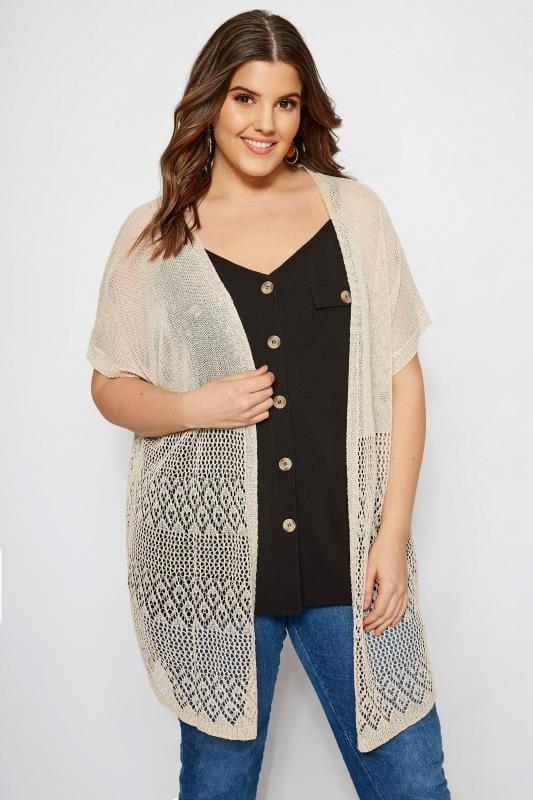 Plus Size Cardigans Nude Crochet Effect Cardigan