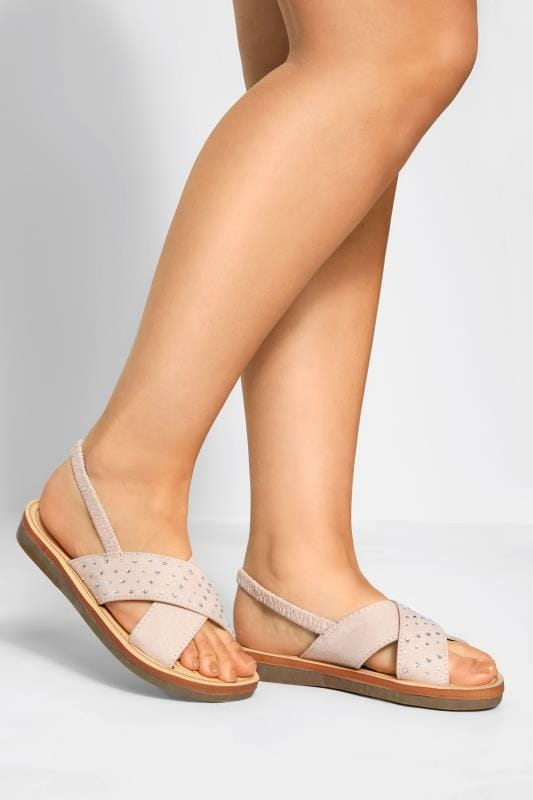 Wide Fit Flat Shoes Nude Cross Over Diamante Sandals In Extra Wide Fit