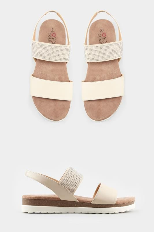 Nude Embellished Elasticated Sandals In Extra Wide Fit