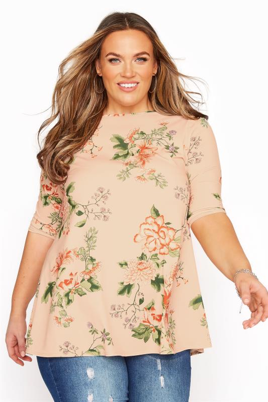 Plus Size  Nude Floral 3/4 Sleeve  Tunic