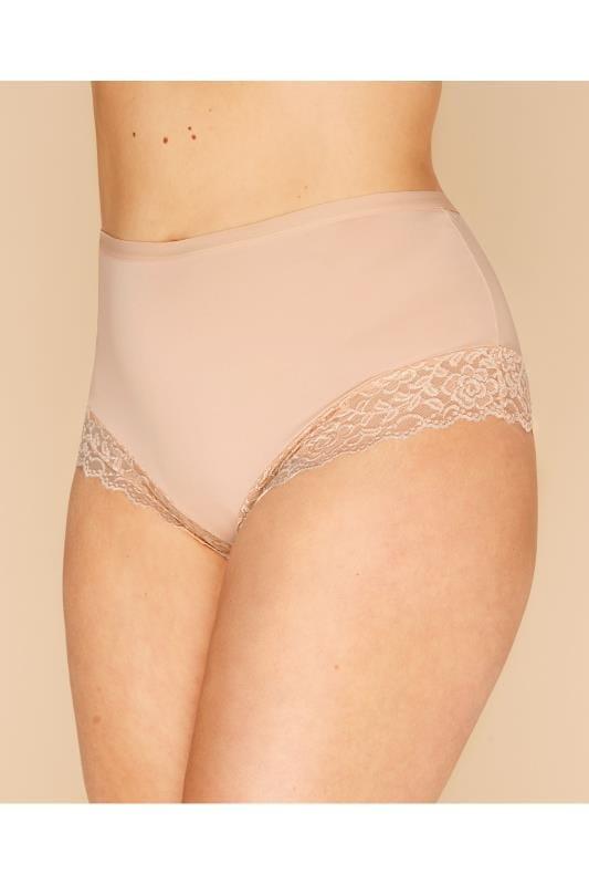 Plus Size Briefs Nude Lace Trim Briefs