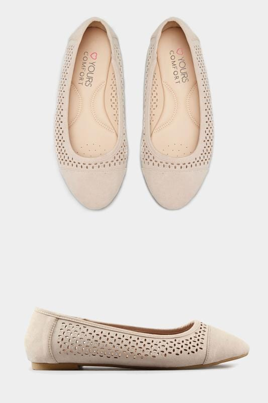 Nude Laser Cut Ballerina Pumps In Extra Wide Fit