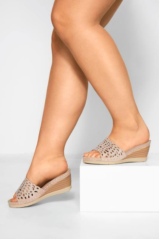 Wide Fit Heels Nude Laser Cut Diamante Heeled Mules In Extra Wide Fit