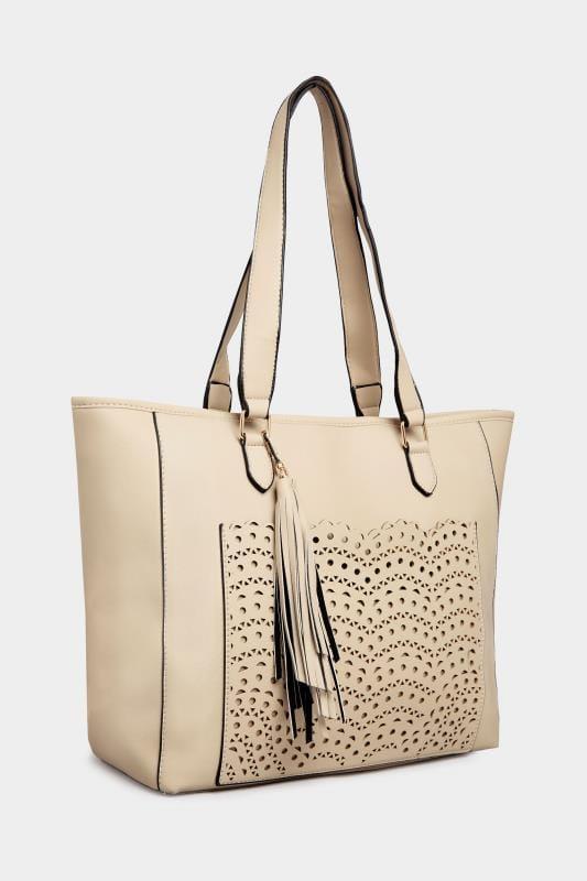 Nude Laser Cut Shopper Bag