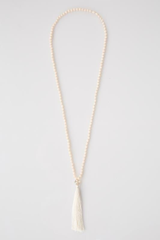 Nude Bead Tassel Necklace