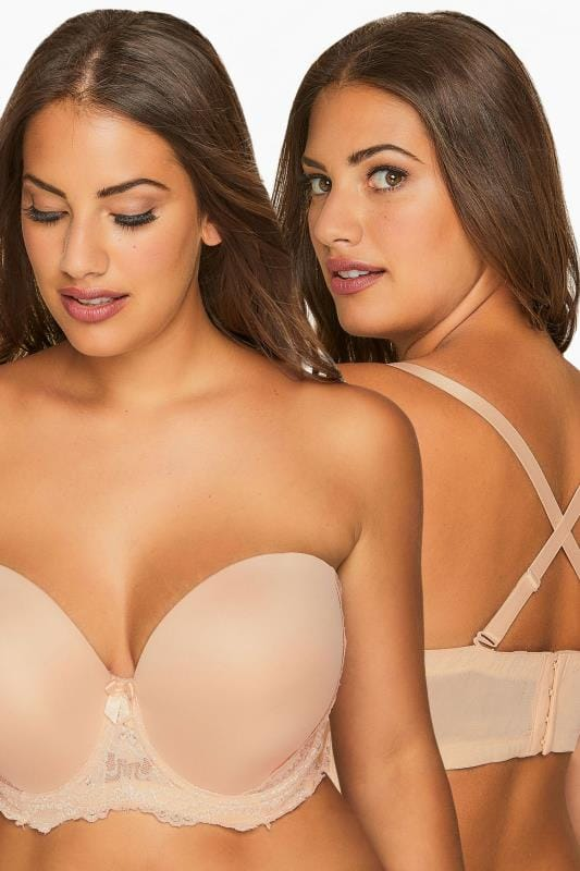 Plus Size Moulded Bras dla puszystych Nude Multiway Microfibre Lace Bra With Removable Straps
