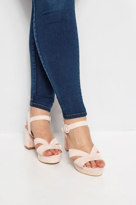 Nude Platform Heeled Sandals In Extra Wide Fit