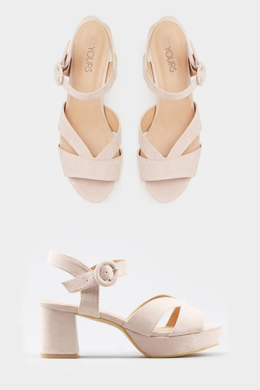 how to orders 2019 best latest fashion Nude Platform Heeled Sandals In Extra Wide Fit | Yours Clothing