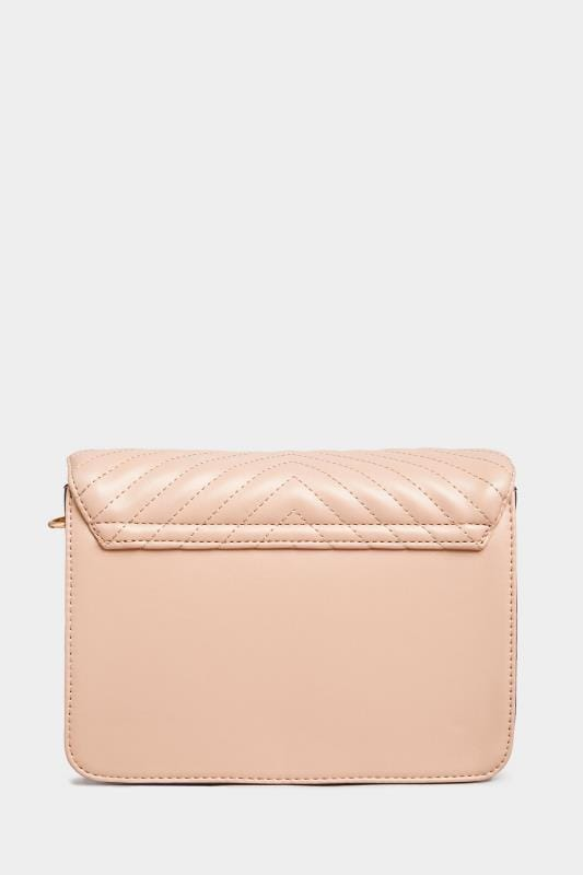 Nude Quilted Chevron Cross Body Bag