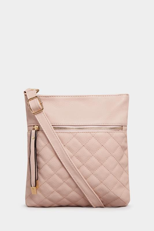 Nude Quilted Cross Body Bag