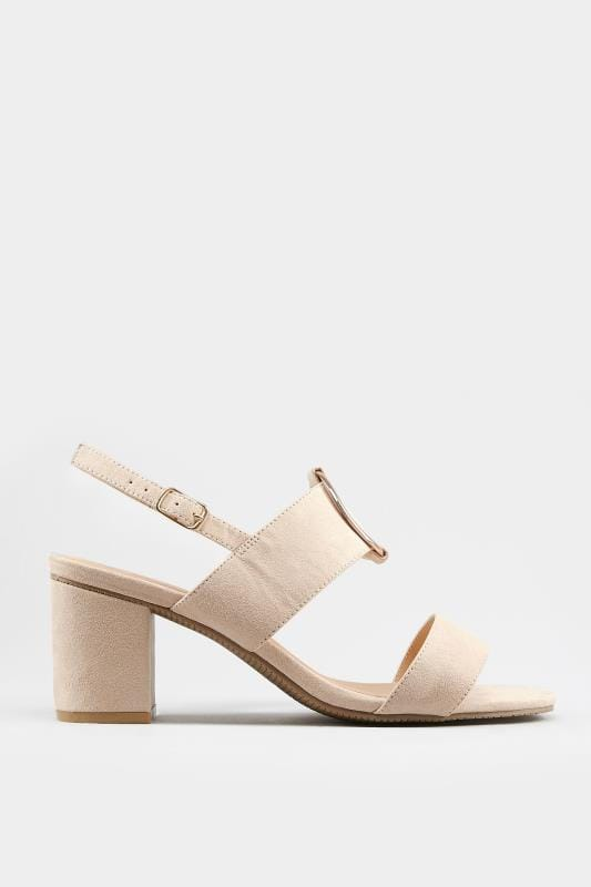 Nude Ring Block Heeled Sandals In Extra Wide Fit
