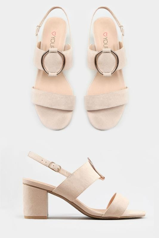Nude Ring Block Heeled Sandals In Extra
