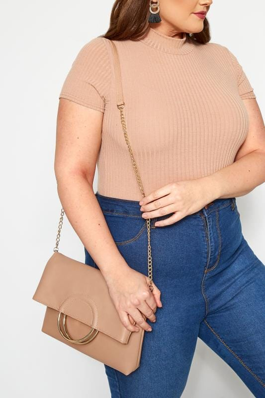 Bags & Purses Nude Ring Detail Cross Body Bag