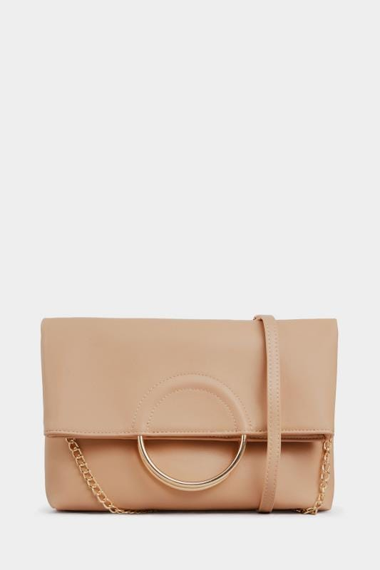 Nude Ring Detail Cross Body Bag