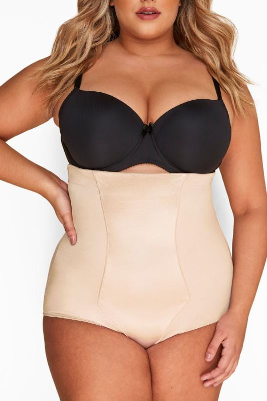 Plus Size Shapewear Nude Satin High Waist Control  Brief