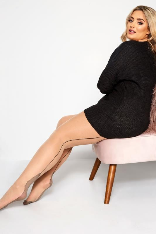 Plus Size Tights Nude Seamed Tights