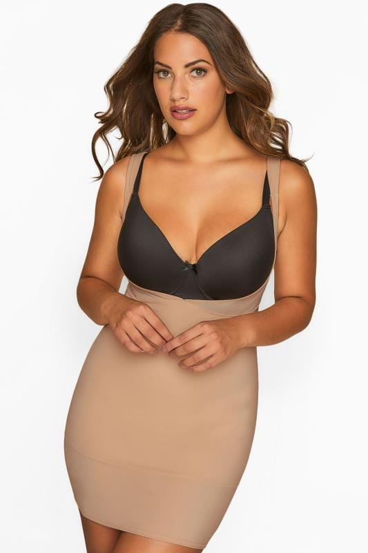 Plus Size Shapewear Nude Underbra Smoothing Slip Dress With Firm Control