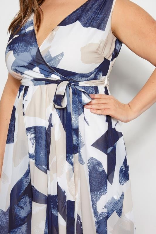 Navy & White Abstract Wrap Dress With Hanky Hem